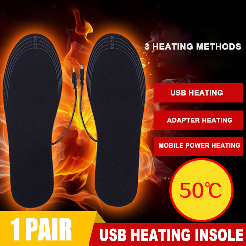 1 Pair USB Heated Insoles Foot Warming Pad Feet Warmer Sock Pad Mat Winter Outdoor Sports Heating Shoe Insoles Winter Warm