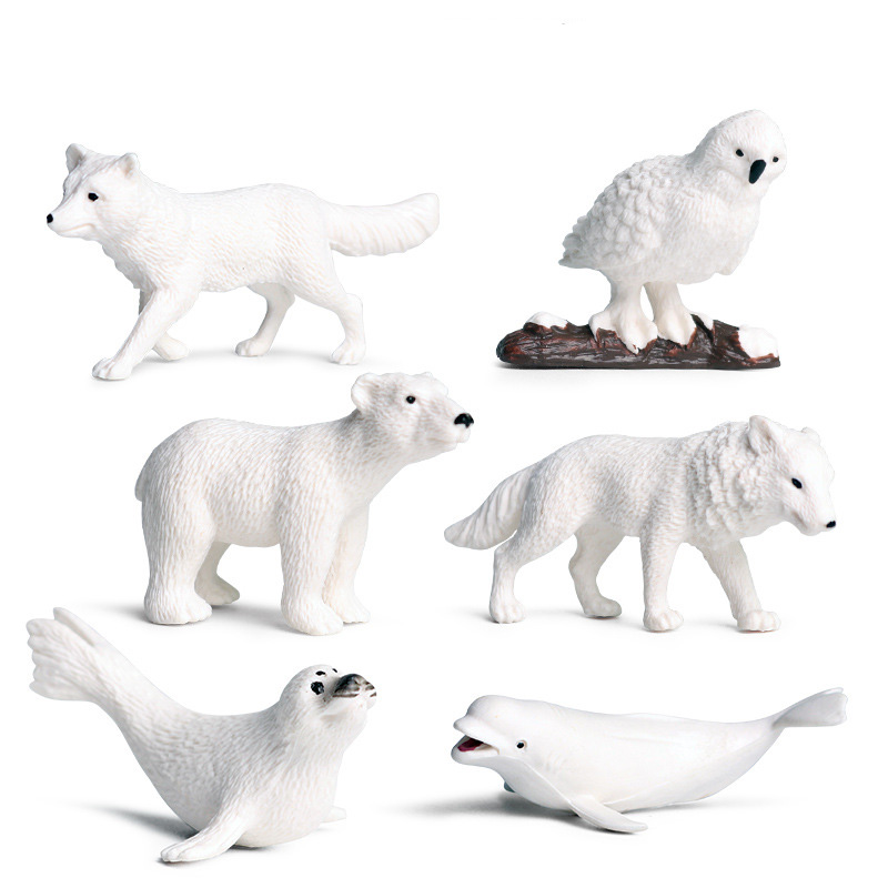 6 Pcs/set Small Size Arctic Animals Figure Collectible Toys Animal Action Figures Kids Plastic Toys