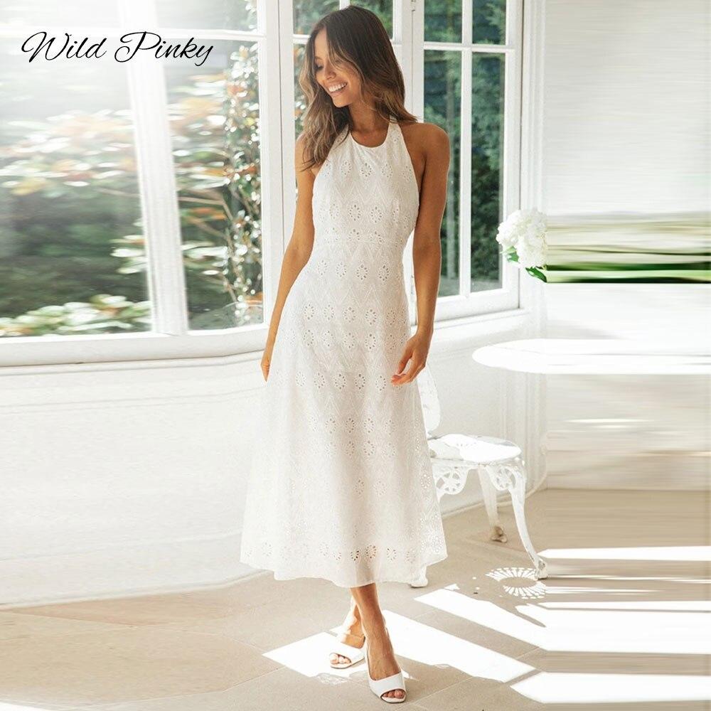 WildPinky-elegante vestido blanco de encaje, mujer, Sexy, sin espalda, Halter, femenino, de algodón, para verano, estilo playero, vestido a la rodilla para mujer Sandalias planas de plataforma de verano 2020 para mujer, Sandalias de plataforma para mujer, Sandalias de cuña blancas para mujer, zapatos chancletas 825 peep