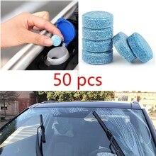 50PCS 1pcs = 4L 자동차 액세서리 솔리드 와이퍼 창 청소 자동차 앞 유리 세탁기 정제 자기 징후 자동차 Defogger