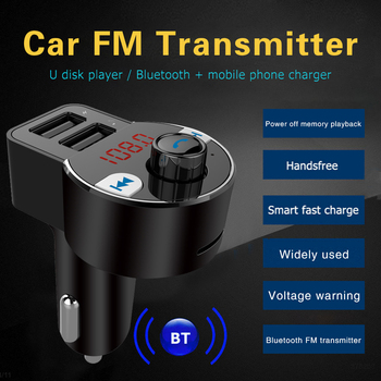 HK203 Car FM Transmitter Bluetooth 5.0 Hands Free TF U Disk MP3 Player 3.1A Dual USB Charger Wireless Modulator image