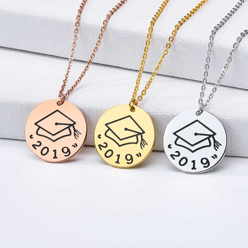 Bachelor Cap Collier Gold Graduation Necklace Women Round Coin Pendant Teacher Gifts Stainless Steel Chain Fashion Jewelry 2019