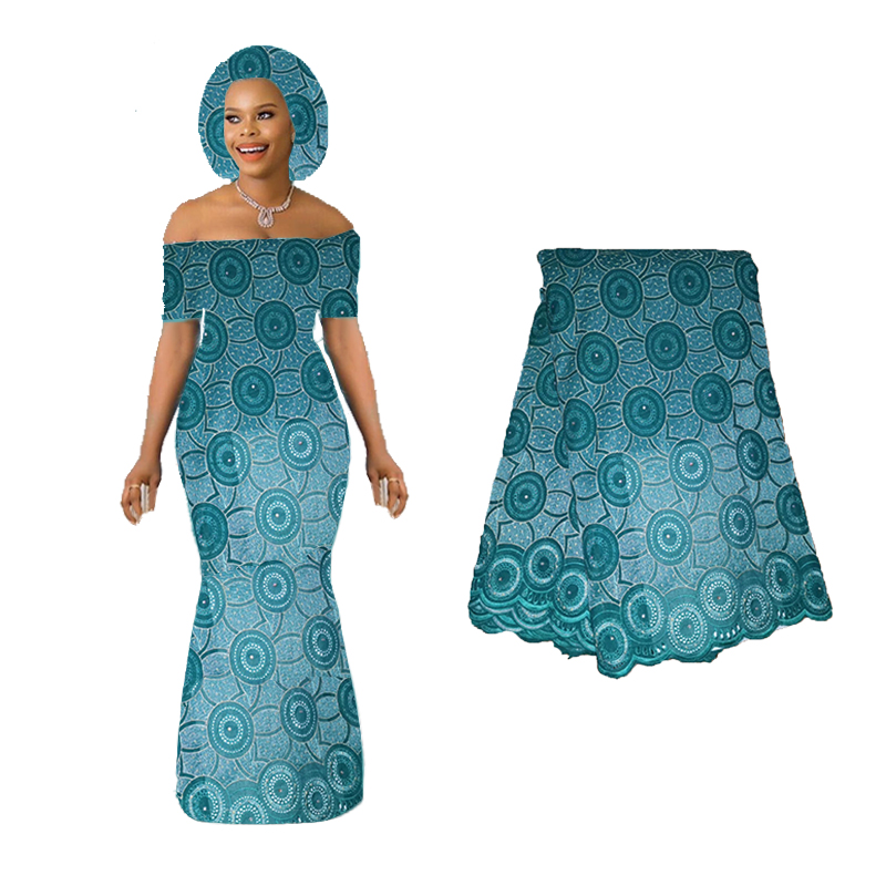 Latest African Lace Fabric 2019 Nigerian France Lace Fabric High Quality Mint Green Purple Color For Women Dress With Stones