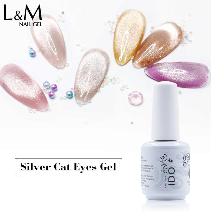 Ido Spar Cat Eye Nail Gel Lak Perlu Basis Warna Emas Perak Kuat Magnet Uv Gel Polish Nail Art Bersinar cat Eye Gel Lacque