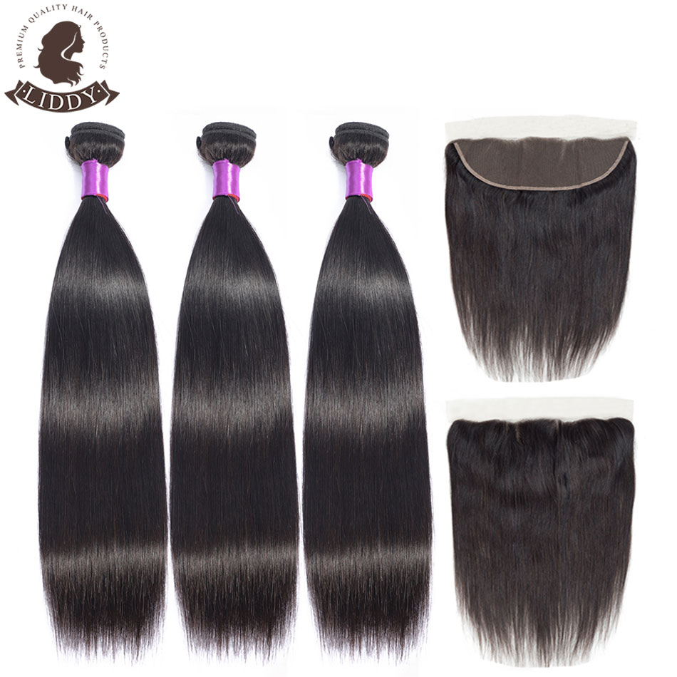 Liddy Straight Hair Bundles With Frontal Brazilian 3 Bundles 100% Human Hair 3 Bundles With Lace Frontal 13x4 Free Part Non Remy