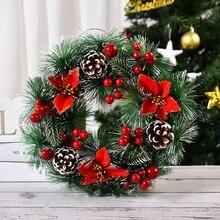 Christmas Wreath Artificial Pinecone Red Berries Garland Hanging Front Door Wall