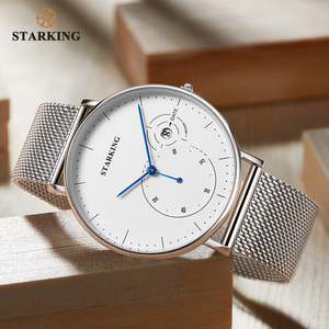 Image 3 - STARKING Simple Watches Men Steel Stainless Silver Mesh Band Watch Male Quartz Wristwatches With Auto Date Display Relogios 3ATM