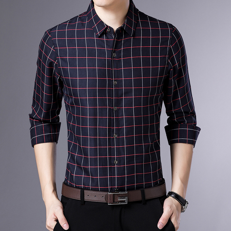Shirt Men's Long Sleeve Slim Fit Spring And Autumn Fashion Youth Trend Handsome No Ironing Business Casual MEN'S Shirt New Style