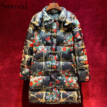 Svoryxiu luxury Runway Winter White Duck Down Jackets Coat Womens Vintage Black Flower Print Long Jacket Outerwear