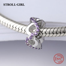 Strollgirl flower charms 925 sterling silver Beads with purple CZ stone Fit Original Pandora Bracelet diy jewelry for gifts