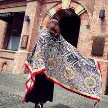 Simanfei Travel Beach Towels Geometry Totem Ethnic Female Women Wearable Blanket Shawl Sun Shade Scarf Cotton Tapestry Yoga Mat
