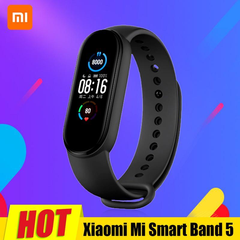 Original Xiaomi Mi Band 5 Smartband Color pantalla táctil Miband 5 pulsera Fitness pulsómetro Monitor deporte Correa impermeable|Pulseras inteligentes|   - AliExpress