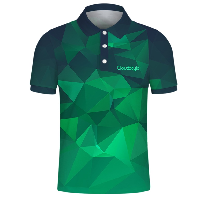 Own Design Logo Polo Shirts Men 3D Green Gradient Print Tees Tops Shirts Male Casual Short Sleeve Men Polo Customize Loose