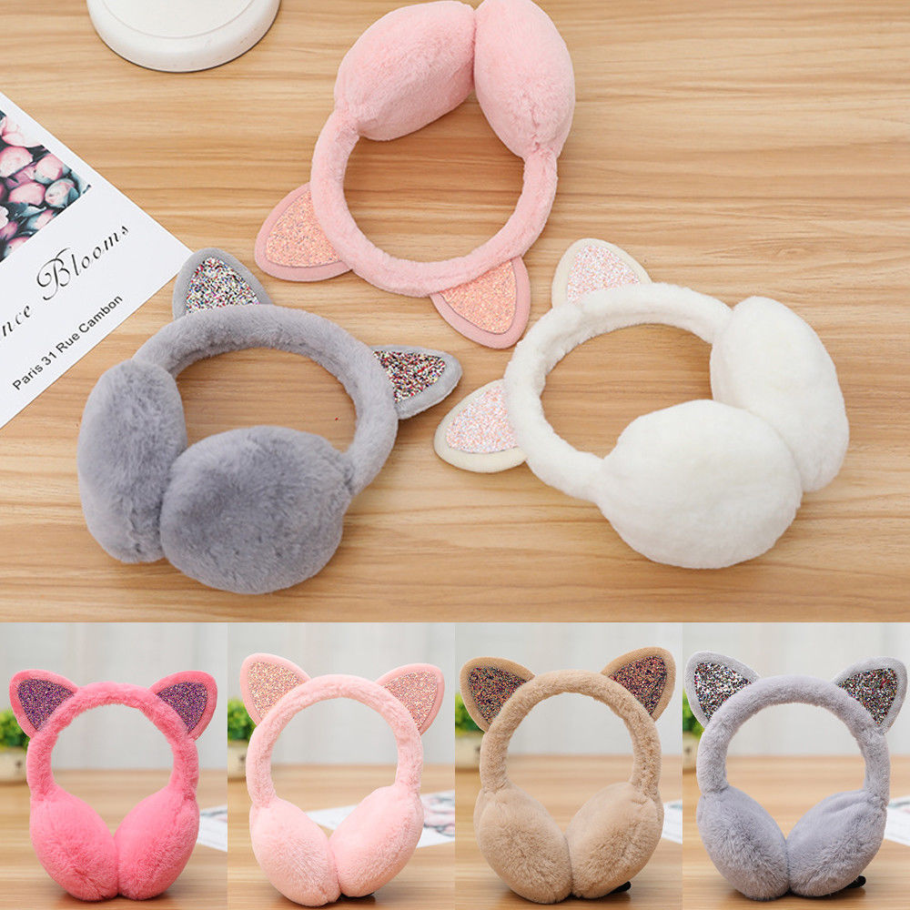 New Fashion Women Ladies Winter Plush Ear Pad Glitter Cat Earmuffs Headband Warmer Outdoor