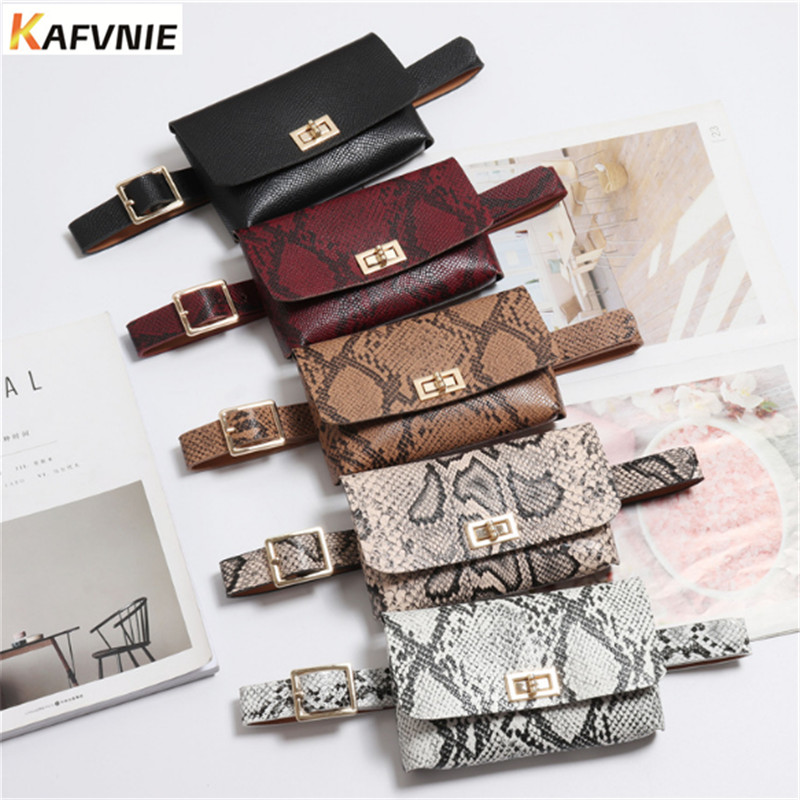 KAFVNIE Fashion Belt Bags Vintage Waist Belt Bags Phone Pocket PU Leather Waist Pouch Vintage Lady Fanny Pack Wholesale 2019