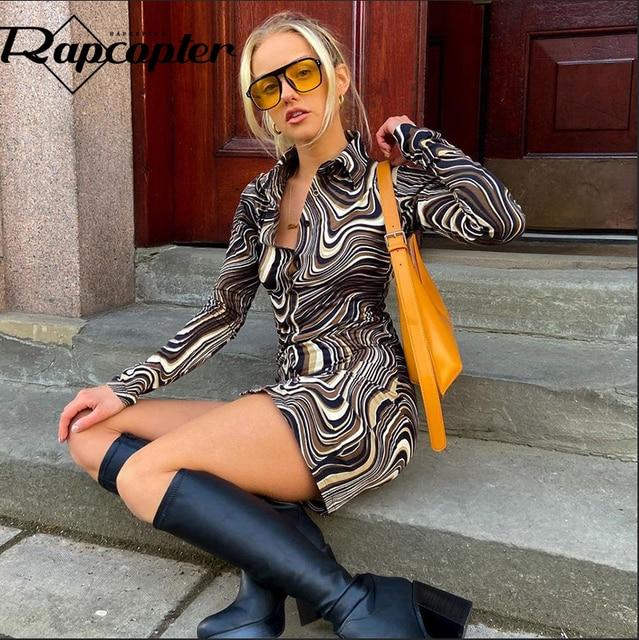Rapcopter Paisley Brown Mini Dress y2k Aesthetic Sundress Turn Down Collar Vintage Short Dress Button Skinny Bodycon 2021 90S 4
