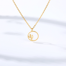 Bohemian Cactus Necklace Women Hollow Circle Collares Mujer Gold Chain Plant Necklaces Pendents Engagement Jewelry Accesorios