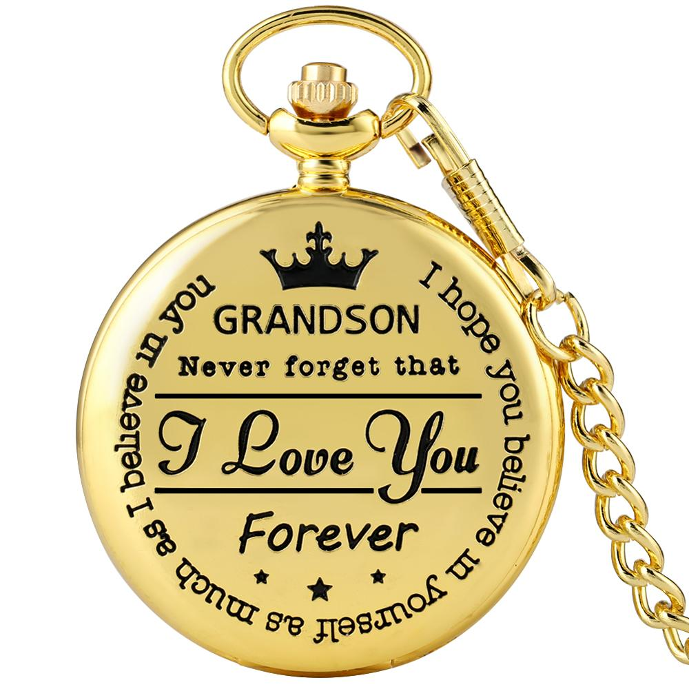 To My Grandson Golden Case Pocket Watch For Men White Dial Necklace Watches Son Utility Thick Chain Pendant Gift