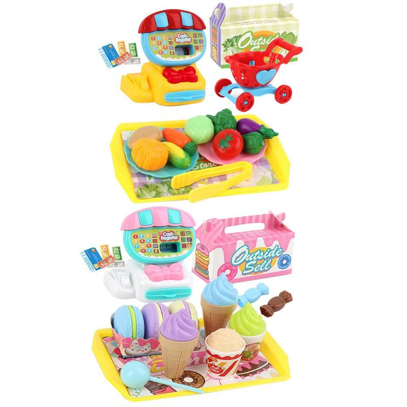 Children's Mini Supermarket Toy Set Excellent ABS Plastic Cash Register Family Dessert Fruit Shopping Cart Toy  Bright Color