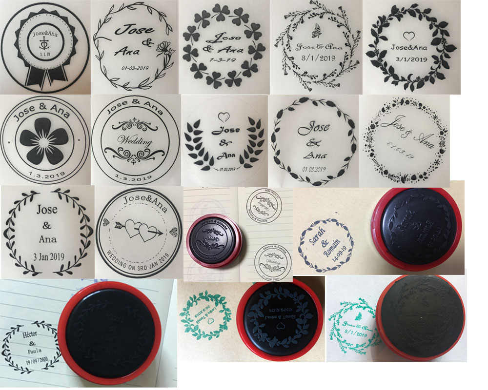 45mm Round Personalized Stamp 13 Styles Option Self Inking