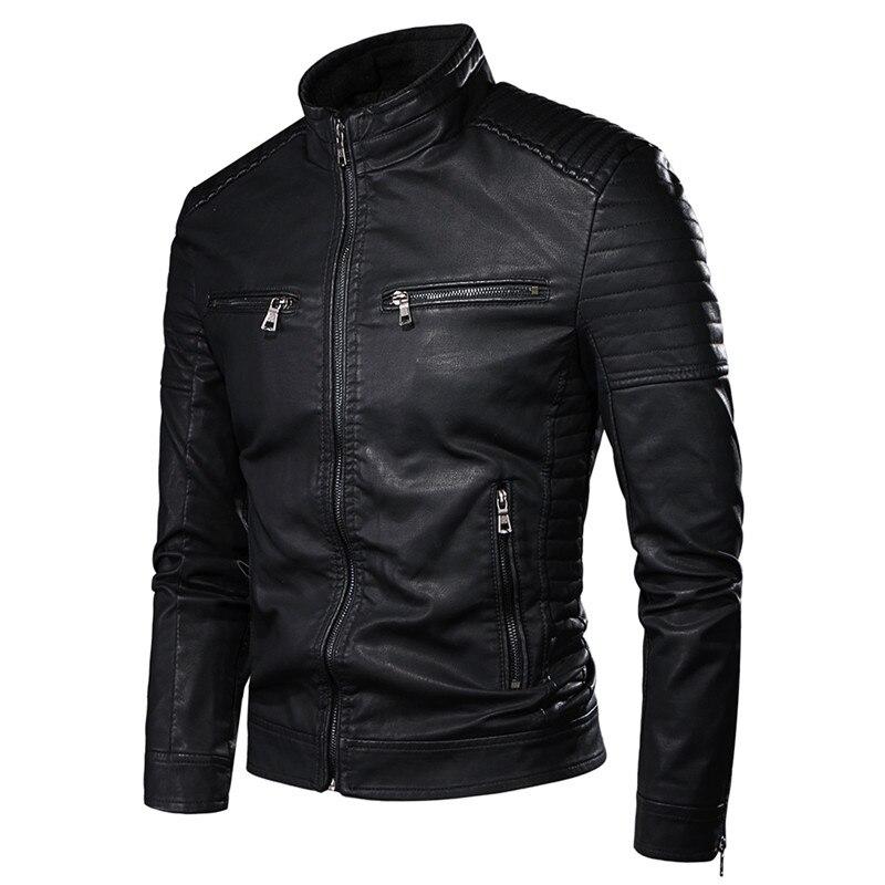 New Spring Men Motorcycle Causal Vintage Leather Jacket Coat Men Outfit Fashion Biker Zipper Pocket Design PU Leather Jacket Men
