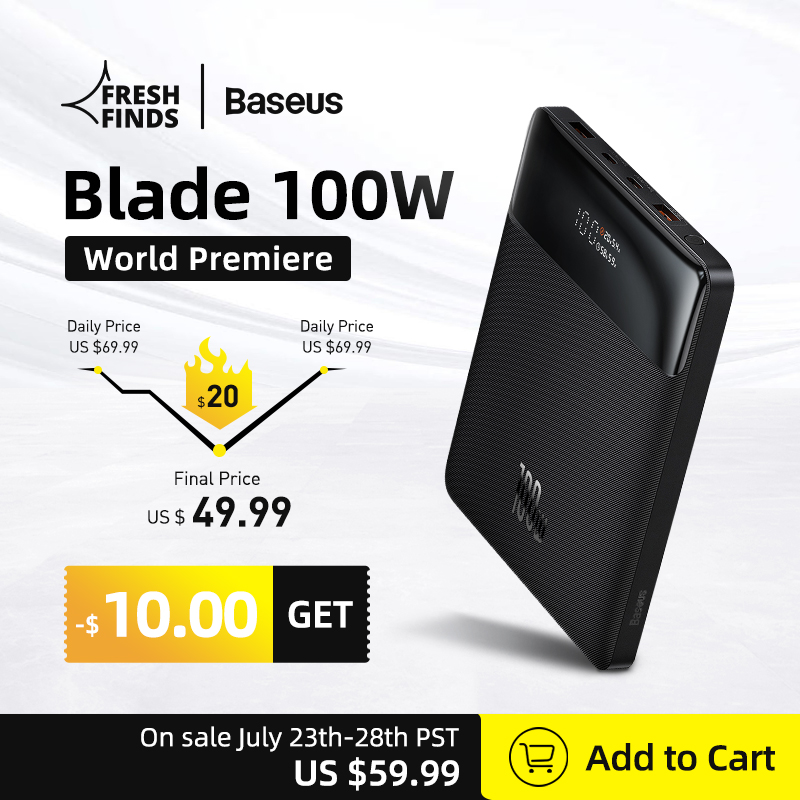 World Premiere Baseus 100W Power Bank 20000mAh Type C PD Fast Charging Powerbank Portable External Battery Charger for Notebook 1
