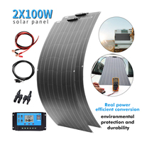 2x 100W 18V Flexible solar panel kit Monocrystalline solar 12V battery charger for car RV home outdoor Power system charging