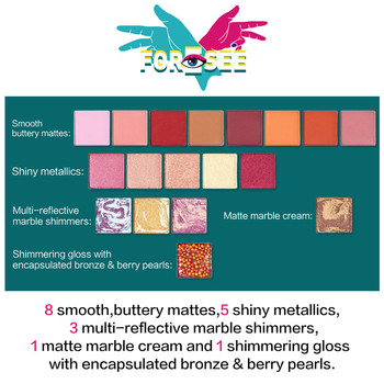 UCANBE Foresee 18 Colors Eyeshadow Palette Matte Shimmer Eye Shadow Metallic Pigment Nude Makeup Marble Cream Berry Pearls 2