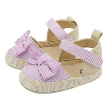 2020 Children Summer Shoes Newborn Infant Baby Girl Soft Crib Shoes Infants Anti-slip Sneaker Striped Bow Prewalker 0-18M - Model1-Pink, 0-6 Months