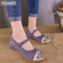 Veowalk zapatos de lona con bordado de flor de loto para mujer, zapatillas femeninas de tela de algodón de retales, cómodos