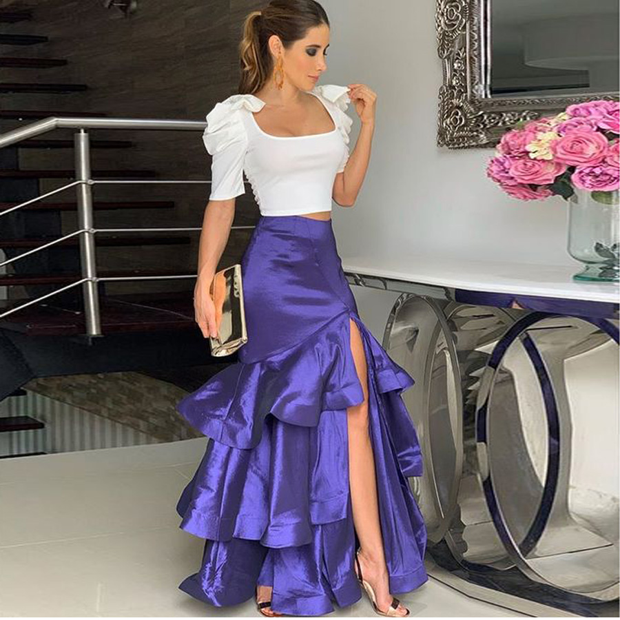 Formal Regent Color Mermaid Satin Skirts Women To Formal Party High Side Split Sexy Long Skirt Zipper Ruffles Female Skirt