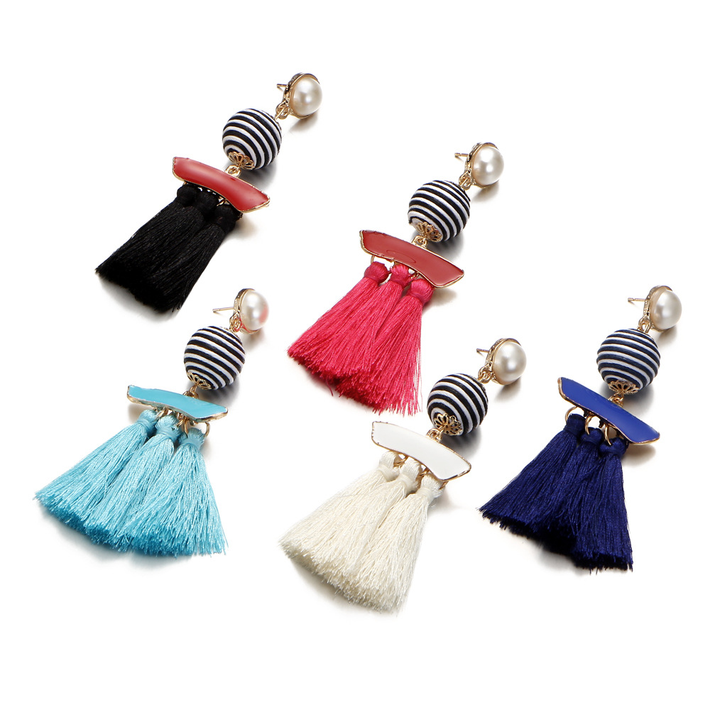 Handmade Fringe Multicolor Long Tassel Sea Peal Drop Earrings for Women Boho Alloy Big Statement Dangle Earring Fashion Jewelry in Drop Earrings from Jewelry Accessories