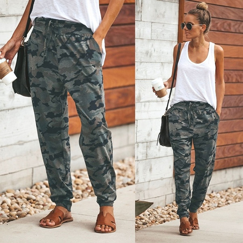 New Quality Cotton Blend Pants Women Casual Pants Mid Waist Fitness Pants Female