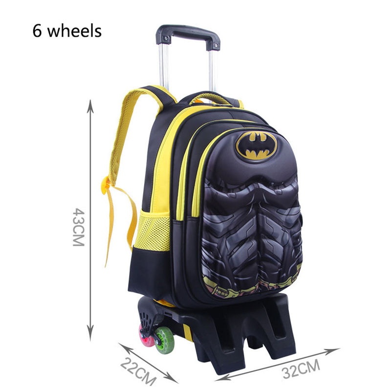 Kids Wheeled Batman School Bags Boys Girls Trolley School Bag Luggage Backpack Removable Children School Bags With Wheels