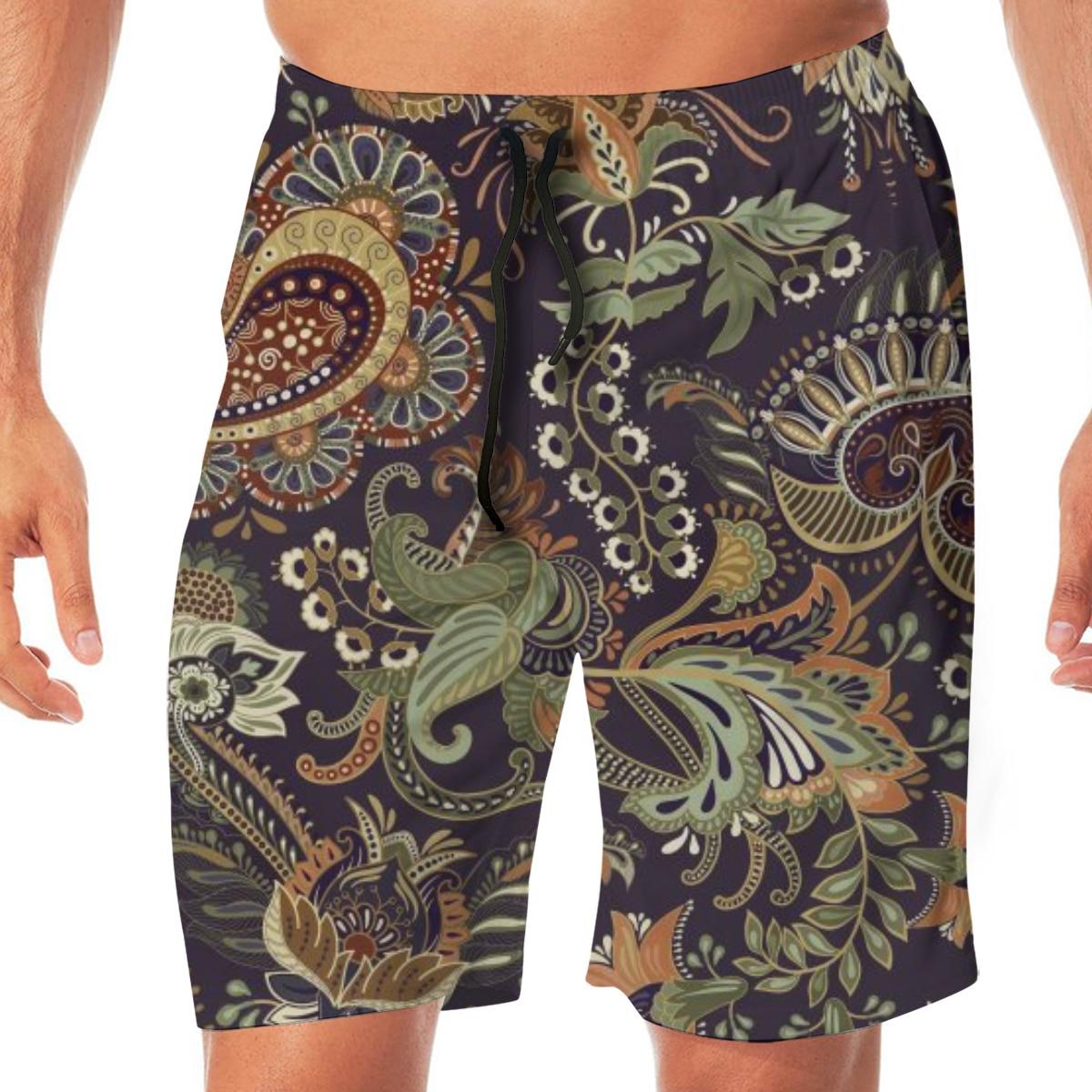 Men Casual Summer Hawaiian Beach Pants Half Trousers Colorful Paisley Ethnic Indian Print