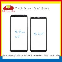 10 adet/grup dokunmatik ekran Samsung Galaxy A6 2018 A600 dokunmatik Panel ön dış cam Lens A6 + A6 artı a605 dokunmatik LCD cam
