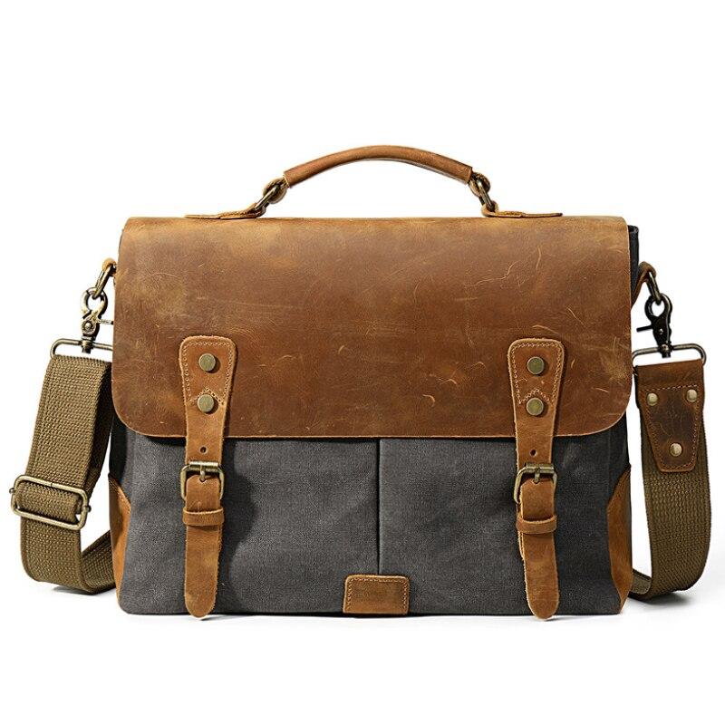 MAHEU Causal Daily Canvas Briefcase For Men Vintage Fashion Wax Canvas Briefcase 14 15 Inch Laptop Computer Shoulder Bag School