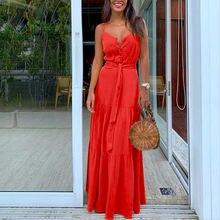 Повседневное женское однотонное платье макси на бретелях спагетти