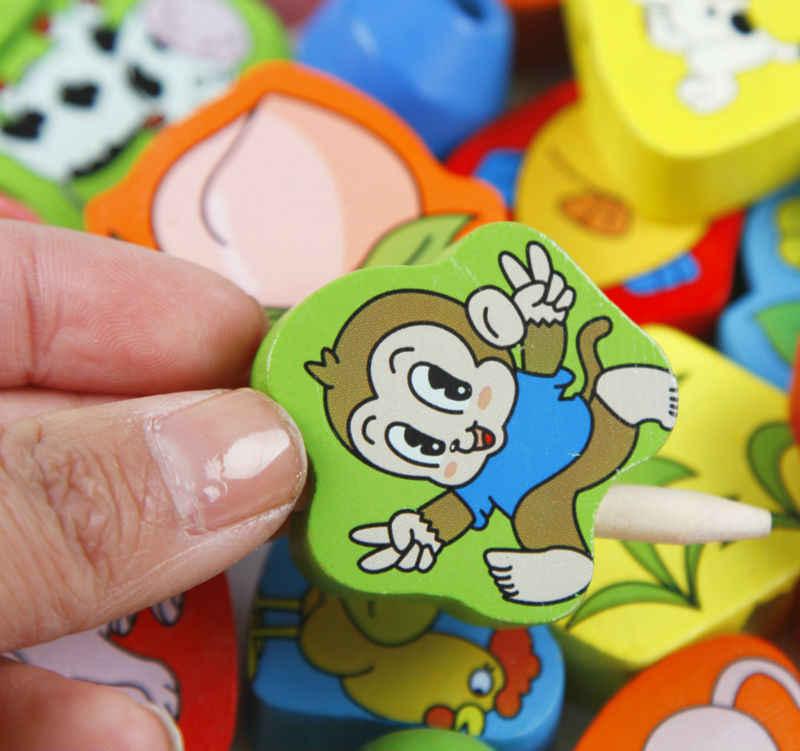 משלוח חינם תינוק עץ קריקטורה בעלי החיים 60PCS חרוז צעצועי ילדי חרוזים צורת אבן בניין צעצועי עץ קלאסי מונטסורי בלוקים