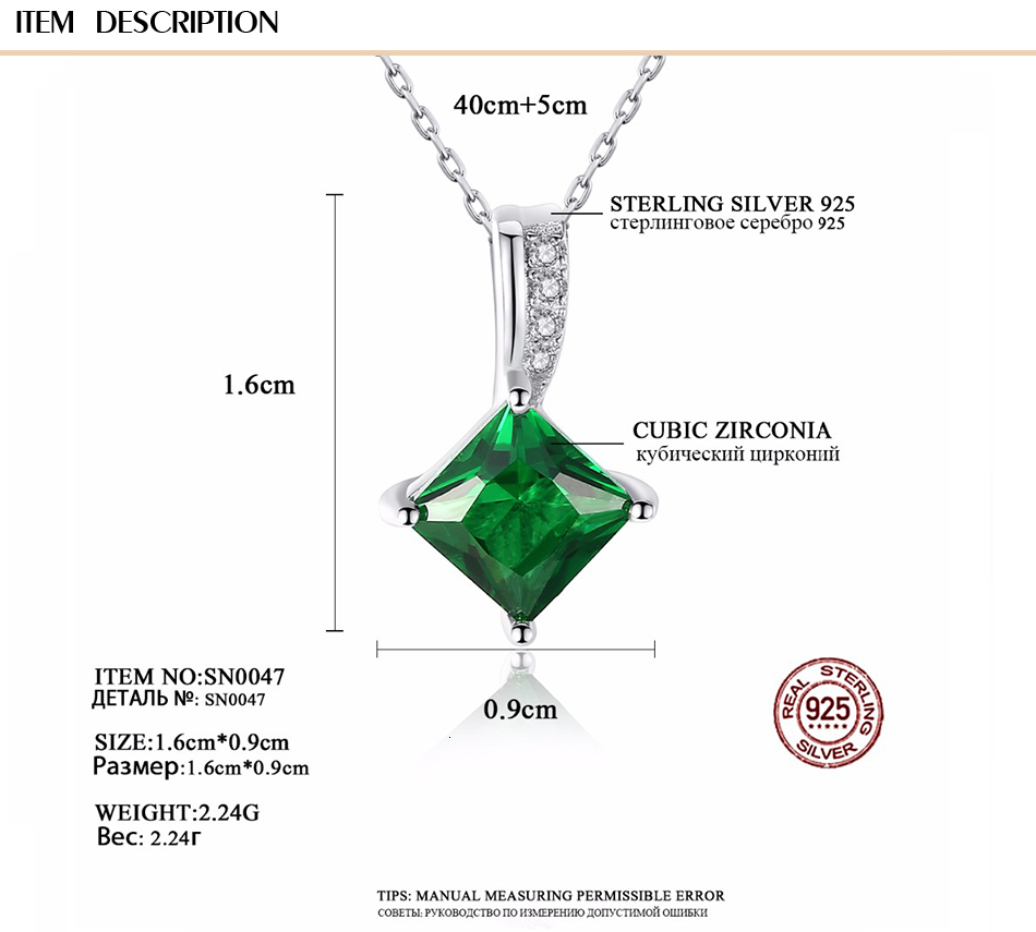 H5a2938f519944f7a8165ed5695193215Q CZCITY Charm Chain Necklace Emerald Green Cubic Zirconia Popular Jewelry 925 Sterling Silver Pendant Necklace for Women Gift