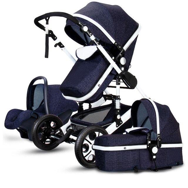 Cochecito para bebé 3 en 1 de lujo, cesta con paisaje alto, asiento seguro para bebé con cuatro ruedas Bolso para cochecito de bebé, bolsos de moda para madres, bolso grande para pañales, mochila, organizador para bebés, bolsas de maternidad, bolso para madres, mochila para pañales