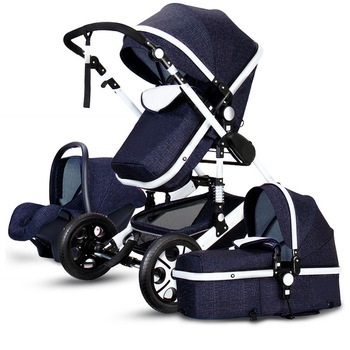 Luxury Infant 3 In 1 Stroller Baby Stroller Carriage Basket High Landscape Four Wheels Stroller Baby Safe Seat image