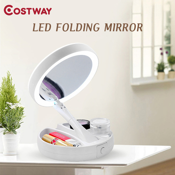 Foldable Led Mirror Makeup Costway White Vanity Cosmetic Mirror USB Charging or Battery  with Light 10X Magnifying Table Mirrors