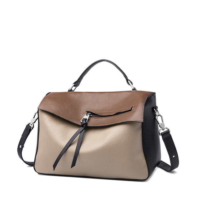 ZOOLER Exclusively First Layer Cow Leather Handbag Luxury Shoulder Bag Patchwork Handmade Women Bags#HS265