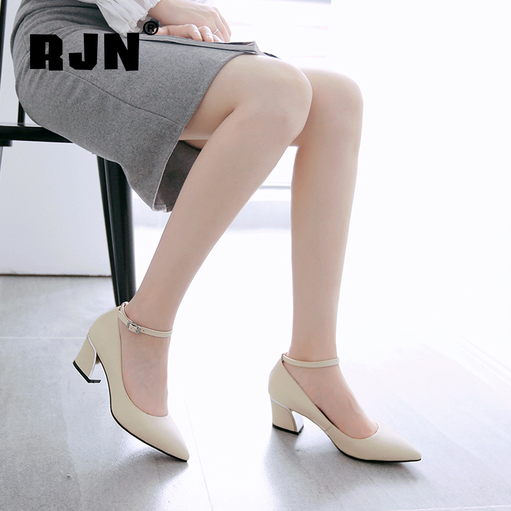 Buy RJN Fashion Silver Heel Women Pumps High Quality Cow Leather Classic Pointed Toe Buckle Strap Shoes For Work Handmade Pumps RO57