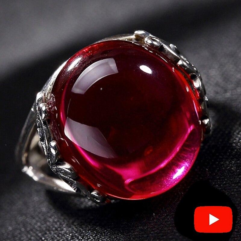 Black Friday S925 Fine Antique Shop Ring  925  Sterling Silver Women Handmade Vintage Natural I Love Mom Ruby Red Jasper