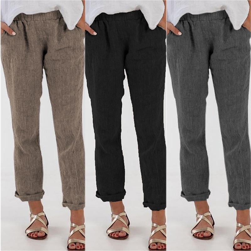 Casual Long Pants For Women Work Trousers ZANZEA 2019 Autumn Leisure Solid Pantalon Femme Pockets Elastic Waist Bottoms Oversize