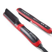 Brosse à cheveux en céramique, lisseur électrique Durable, peigne chauffant LCD, prise ue