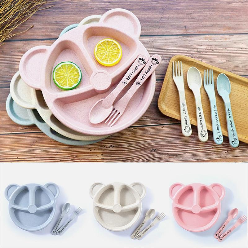 Детская миска + ложка + вилка, 3 шт./компл., посуда для кормления, детская посуда с мультяшным медведем, столовая посуда для еды, антижаркая тре...
