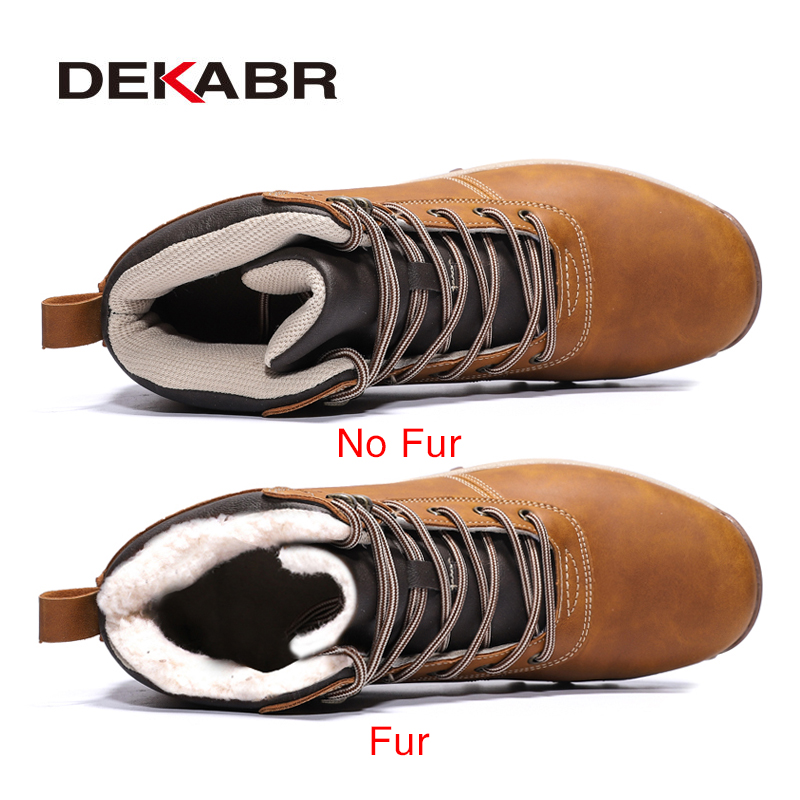 DEKABR Winter Warm Men Boots Genuine Leather Fur Plus Men Snow Boots Handmade Waterproof Working Ankle Boots High Top Men Shoes 1